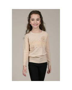Mini Molly Girls Lace Flower Trim Sweater Size 6-14 | MMLA337A19 Beige