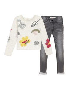 Catimini Girls 2 Pc Pullover & Jeans Size 2-10 | CP18155 22035 White