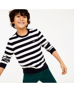 Lacoste Boys Striped Sweater Size 2-14 | AJ8083 HHW White