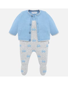 Mayoral Boys 2Pc Romper And Jacket Set Size 1m-9m | 2607 Blue