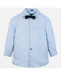 Mayoral Boys 2Pc Shirt And Bowtie Set Size 8-18 | 7120 056 Blue