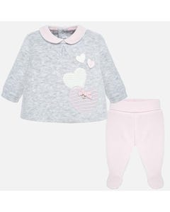Mayoral Girls Top And Pant Set Size 0m-12m   2501 Grey