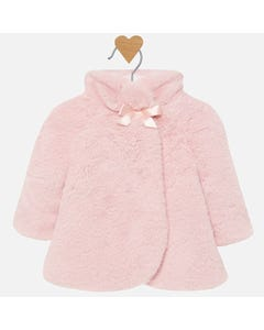Mayoral Girls Fur Coat Peach Size 3m-18m | 2406 056 Pink
