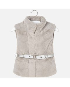 Mayoral Girls Fur Vest And Belt Size 2-9 | 4307 078 Silver