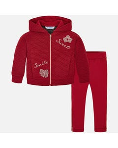 Mayoral Girls 2Pc Hooded Tracksuit Size 2-9 | 4803 045 Red