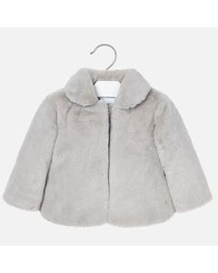 Mayoral Girls Fur Jacket Silver Size 2-9 | 4411 012 Silver