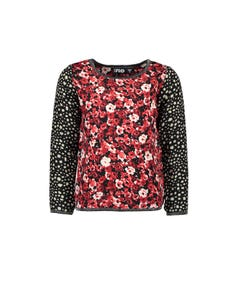 Like Flo Girls Flower Print Top Size 6-14 | 909 5109 940 Red