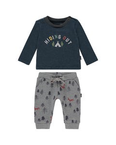 Noppies Boys 2Pc Shirt And Pant Set Size 1m-18m | 94632 94647 Navy