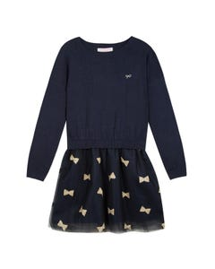 Lili Gaufrette  Girls Knit Bodice Dress Size 2-12 | GP 30132 Navy