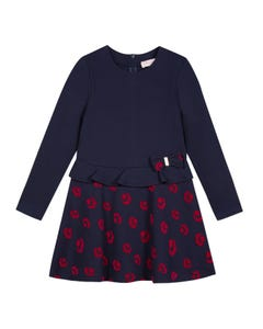Lili Gaufrette  Girls Velour Print Dress Size 2-12 | GP30272 Navy