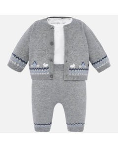 Mayoral Boys 3Pc Cardigan Set Size 3m-12m | 2511 018 Grey