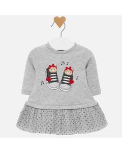 Mayoral Girls Grey Knit And Tulle Dress Size 0m-18m | 2830 011 Grey