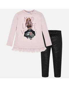 Mayoral Girls 2Pc Top And Legging Set Size 2-9 | 4707 046 Rose