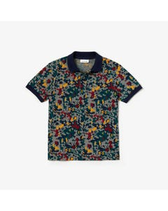 POLO TOP GREEN MULTI COLORED PRINT NAVY COLLAR SHORT SLEEVE