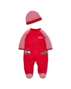SLEEPER & HAT TRAIN EMBROIDERED RED & WHITE STRIPED SLEEVES