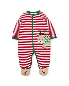 SLEEPER RED & WHITE STRIPE REINDEER EMBROIDERY FRONT CLOSURE