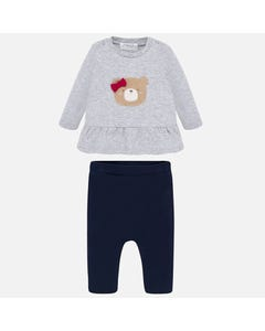 2 PC TOP & LEGGING GREY & NAVY BEAR APPLIQUE