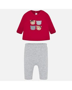 2 PC TOP & LEGGING RED & GREY 4 BEARS APPLIQUE