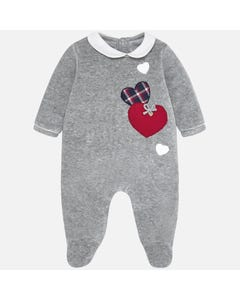 SLEEPER GREY VELOUR WHITE COLLAR RED & NAVY HEART APPLIQUE