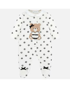 SLEEPER CREAM BLACK STARS PRINT BROWN BEAR APPLIQUE FRONT CLOSURE