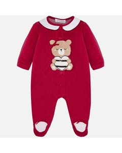 SLEEPER RED VELOUR BROWN BEAR APPLIQUE FRONT CLOSURE WHITE COLLAR