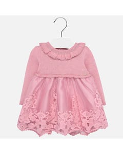 DRESS PINK KNIT & EMBROIDERED TULLE LONG SLEEVE RUFFLE COLLAR