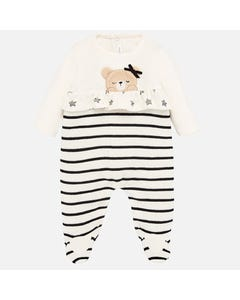 SLEEPER CREAM WITH BLACK STRIPES BROWN BEAR APPLIQUE