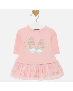 DRESS PINK WITH TULLE SKIRT SHOES & STARS PRINT LONG SLEEVE