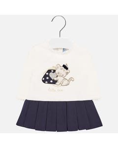DRESS WHITE & NAVY SKIRT WITH TIGER APPLIQUE LONG SLEEVE