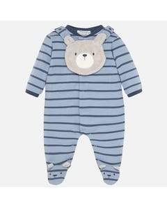 SLEEPER & BIB BLUE STRIPE BEIGE BEAR FACE BIB FRONT CLOSURE