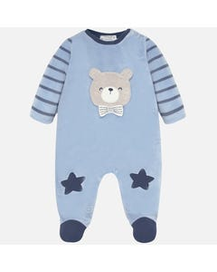 SLEEPER BLUE STRIPE SLEEVES BEIGE BEAR FACE APPLIQUE SIDE CLOSURE