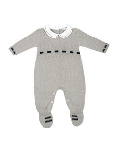 KNIT ROMPER GREY WITH FEET WHITE COLLAR NAVY VELOUR RIBBON TRIM