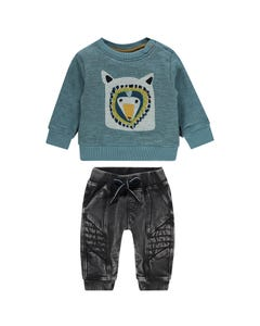 2 PC SWEATTOP & PANT BLACK BLUE TOP GREY EMBROIDERY PRINT