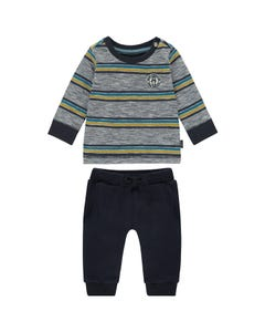 2 PC TSHIRT & PANT NAVY STRIPE & NAVY PANT LONG SLEEVE