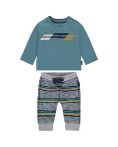 2 PC TSHIRT & STRIPED PANT BLUE & GREY LONG SLEEVE LITTLE EXPLORER