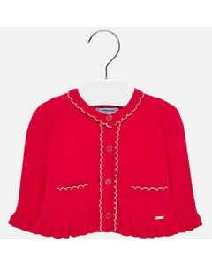 CARDIGAN RED KNIT GOLD TRIM & PLEATS