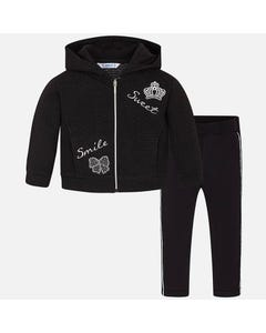 2 PC TRACKSUIT BLACK KNIT HOODED SILVER CROWN & SWEET EMBROIDERY