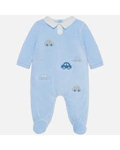 SLEEPER BLUE VELOUR WHITE COLLAR CAR  APPLIQUE