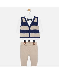 3 PC VEST SHIRT & PANT NAVY BEIGE STRIPE WHITE SHIRT KNIT STRIPED VEST