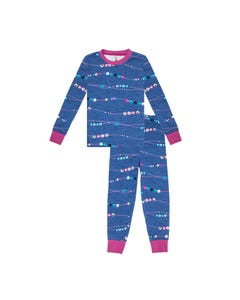 Petit Lem Girls Blue Beaded Print Pyjama Size 2-14 | 19FP79AU64 Blue