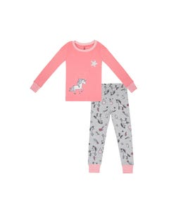 Petit Lem Girls Coral And Grey Unicorn Pyjama Size 2-6x | 19FT19A959J Pink