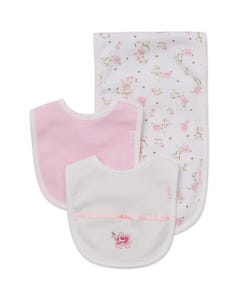 Little Me Girls 3Pc Bib And Burper Set Size OS | LB404001N White