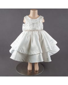 Princess Daliana Girls Ivory Silver Thread Gown Size 3m-12m | 1058X Ivory