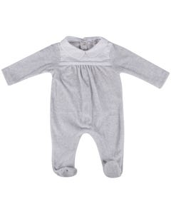 SLEEPER GREY VELOUR WHITE COTTON COLLAR SATIN TRIM