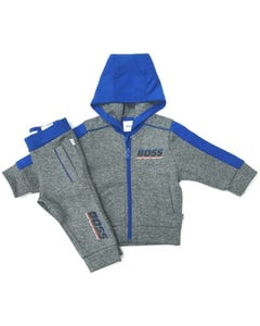 2 PC TRACK SUIT GREY BLUE HOOD