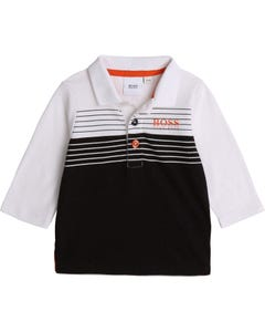 POLO TOP BLACK & WHITE LONG SLEEVE ORANGE BOSS LOGO