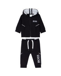 2 PC JOGGING SUIT BLACK HOODED WHITE LOGO