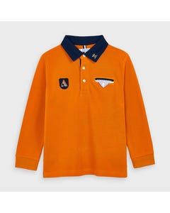 Mayoral Boys Polo Top Orange Navy Collar & Trim Size 2-9 | Toddler Boy Shirts 4128 Orange