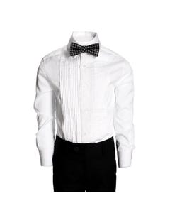 TUXEDO SHIRT WHITE PLEATED FRONT TONE ON TONE PRINT
