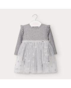 Mayoral Girls Dress Grey & Silver Tulle Dot Print Knit Onesie Size 6m-36m | Dresses For Babies 2964 Grey